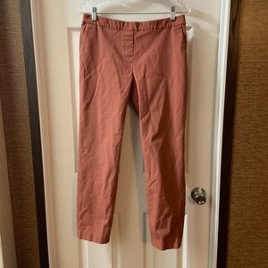 Theory Rust Color Elastic Waist Crop Skinny Pants